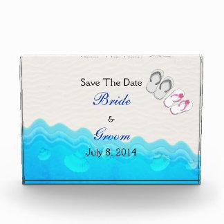 Beach Sandals Wedding Save The Date Acrylic Award