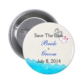 Beach Sandals Wedding Save The Date Pinback Buttons