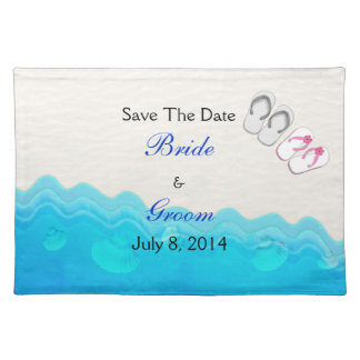 Beach Sandals Wedding Save The Date Placemat