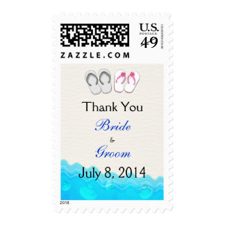 Beach Sandals Wedding Thank You Postage Stamp