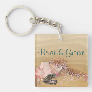 Beach  Sandy Shore Wedding Add YOUR Photo Double-Sided Square Acrylic Keychain