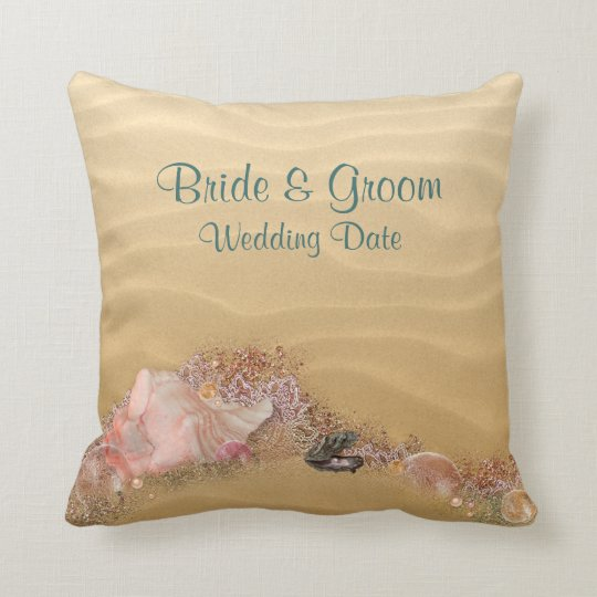 Beach  Sandy Shore Wedding Pillow YOUR PHOTO