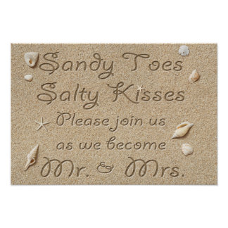 Beach Sandy Toes Salty Kisses Mr & Mrs Poster