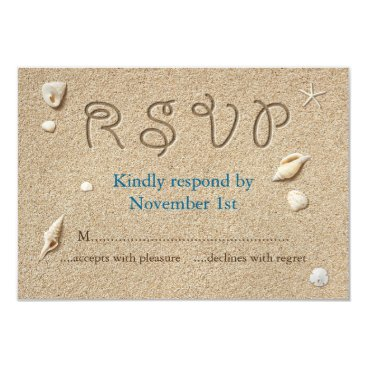 prettyfancyinvites Beach Sandy Toes Salty Kisses RSVP Card