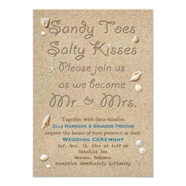prettyfancyinvites Beach Sandy Toes Salty Kisses Wedding Invitation