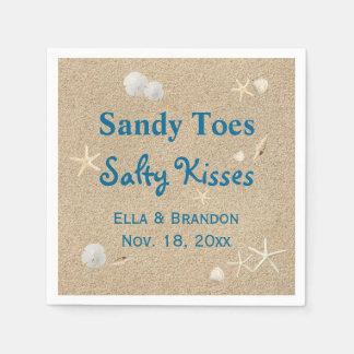 Beach Sandy Toes Salty Kisses Wedding Napkin