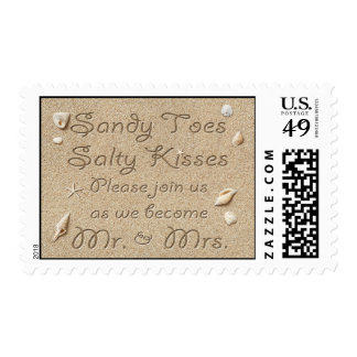 Beach Sandy Toes Salty Kisses Wedding Stamp