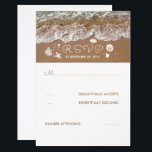 """Beach Sandy Waves Summer Wedding RSVP Card<br><div class=""""desc"""">Summer beach wedding reply cards. Please push the &#39;customize&#39; button to move sea treasures,  to write on the backside,  edit the font style etc.</div>"""