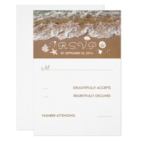 Beach Sandy Waves Summer Wedding Rsvp Card