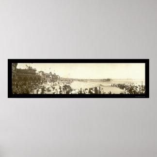 Beach Santa Cruz, CA Photo 1908 Poster