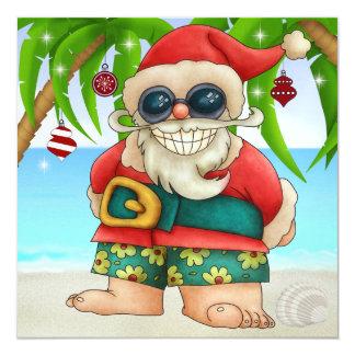 """Beach Santa Greeting - SRF 5.25"""" Square Invitation Card"""