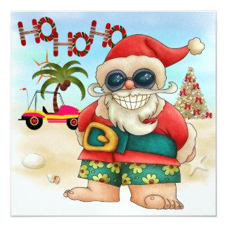 "Beach Santa Invitation - SRF 5.25"" Square Invitation Card"