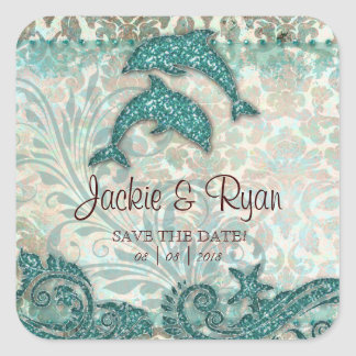 Beach Save Date Wedding Stickers Dolphins