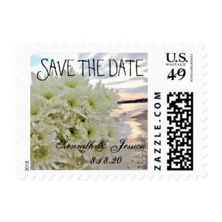 Beach Save the Date Flower Bouquet Postage