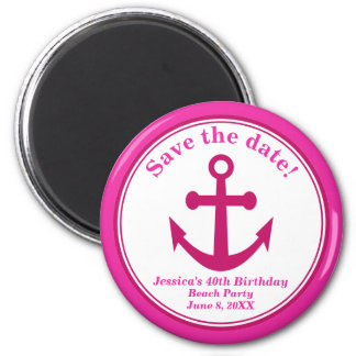 Beach Save the Date Magnet Pink Anchor Birthday