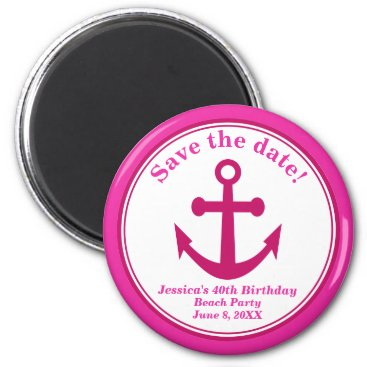 Beach Themed Beach Save the Date Magnet Pink Anchor Birthday