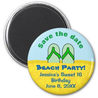 Beach Save the Date Magnet Sand Flip Flops Custom