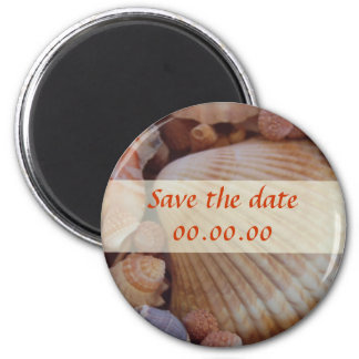 Beach Save the Date Sea Shell Design 2 Inch Round Magnet