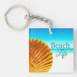 Beach Scallop Seashell Key Chain