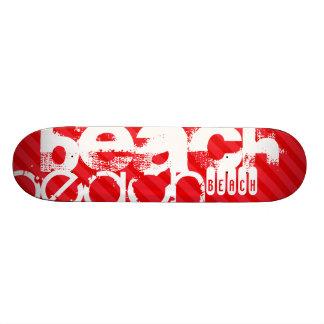 Beach; Scarlet Red Stripes Skateboard Deck