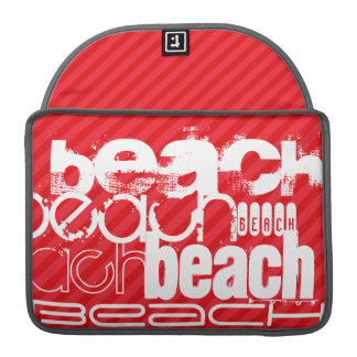 Beach; Scarlet Red Stripes Sleeve For MacBook Pro