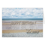 Beach scene 35th birthday card with 3D letters