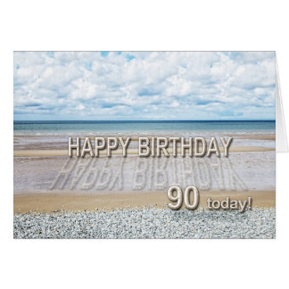 Beach scene 90th birthday card with 3D letters