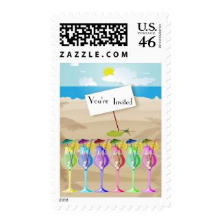 Beach Scene And Colorful Tropical Umbrella Drinks Postage Stamp