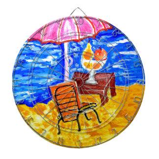 Beach Scene Art Dartboard With Darts