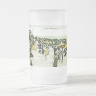 Beach Scene, Asbury Park, New Jersey Frosted Glass Beer Mug