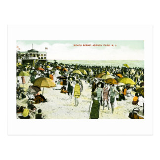 Beach Scene, Asbury Park, New Jersey Postcard