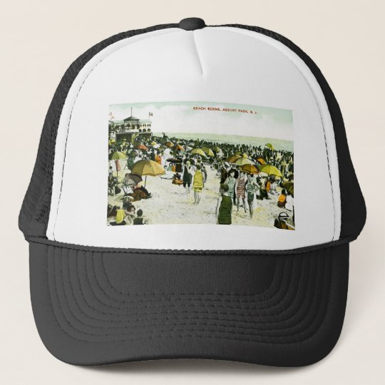 Beach Scene, Asbury Park, New Jersey Trucker Hat