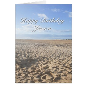 Beach Themed Beach Scene Birthday Card