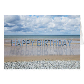 Beach scene birthday card with 3D letters
