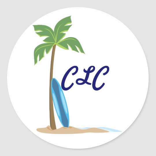 Beach Scene Classic Round Sticker