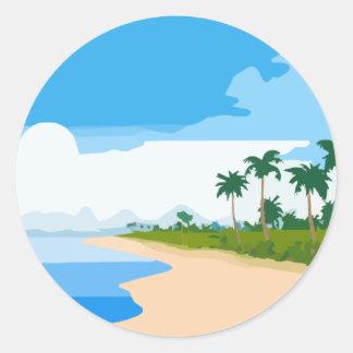 Beach scene classic round sticker