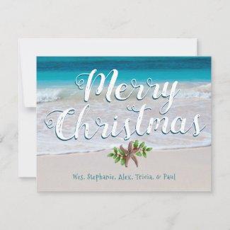 Beach Scene Custom Merry Christmas Flat Cards