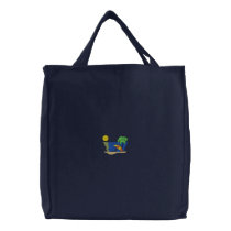 Beach Scene Embroidered Tote Bag