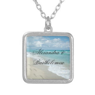 Beach Scene Footprints in Sand Personalized Silver Plated Necklace