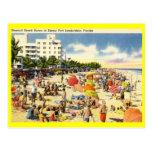 Beach Scene, Fort Lauderdale, Florida Vintage Postcards