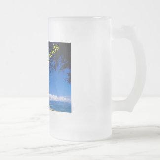 Beach Scene Frosted Glass Beer Mug