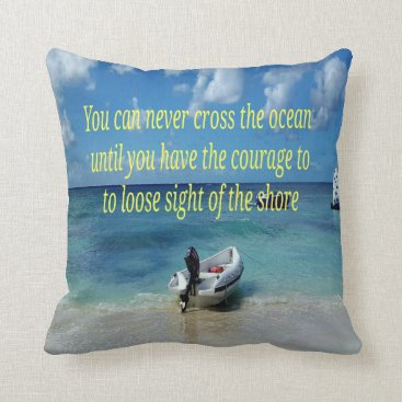 Beach Themed Beach Scene Graduate Gift With Positive  Quote Throw Pillow