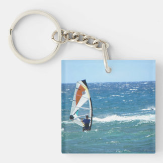 Beach scene keychain maui hawaii wind surfer blue