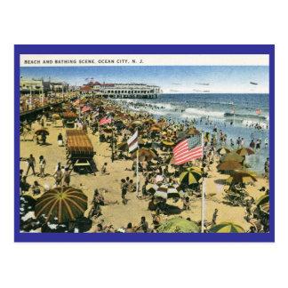 Beach Scene, Ocean City NJ Vintage Postcard