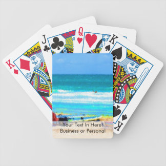 beach scene painterly chairs surfboards umbrellas bicycle playing cards