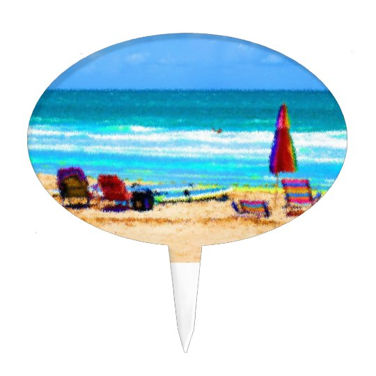 beach scene painterly chairs surfboards umbrellas cake topper