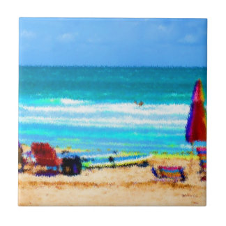beach scene painterly chairs surfboards umbrellas ceramic tile