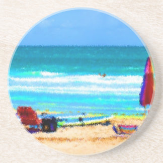 beach scene painterly chairs surfboards umbrellas coasters
