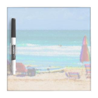 beach scene painterly chairs surfboards umbrellas Dry-Erase board