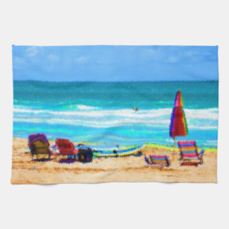 beach scene painterly chairs surfboards umbrellas hand towels